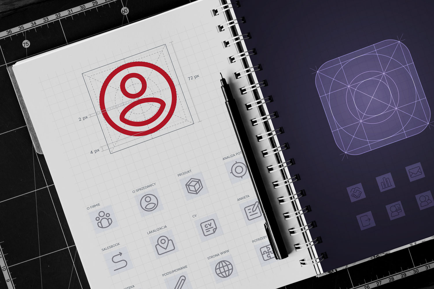 From graphic design to effective business presentation. Creating icons for sales application