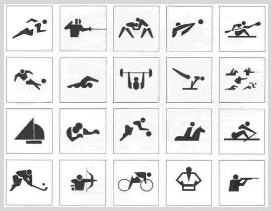 Pictograms of the 1964 Tokyo Olympics.