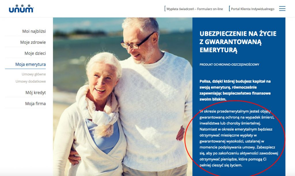 Unum uses a very skillfully defined solution to the problem of people who are retiring. These people usually worry about two things: (1) what happens when they are left alone, unaccompanied by their loved ones, (2) and whether they have enough resources to live their dream life in retirement. All these customer problems are addressed in a short paragraph.