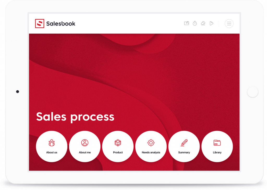 On the main screen of the sales application, icons with short descriptions play a navigational role.