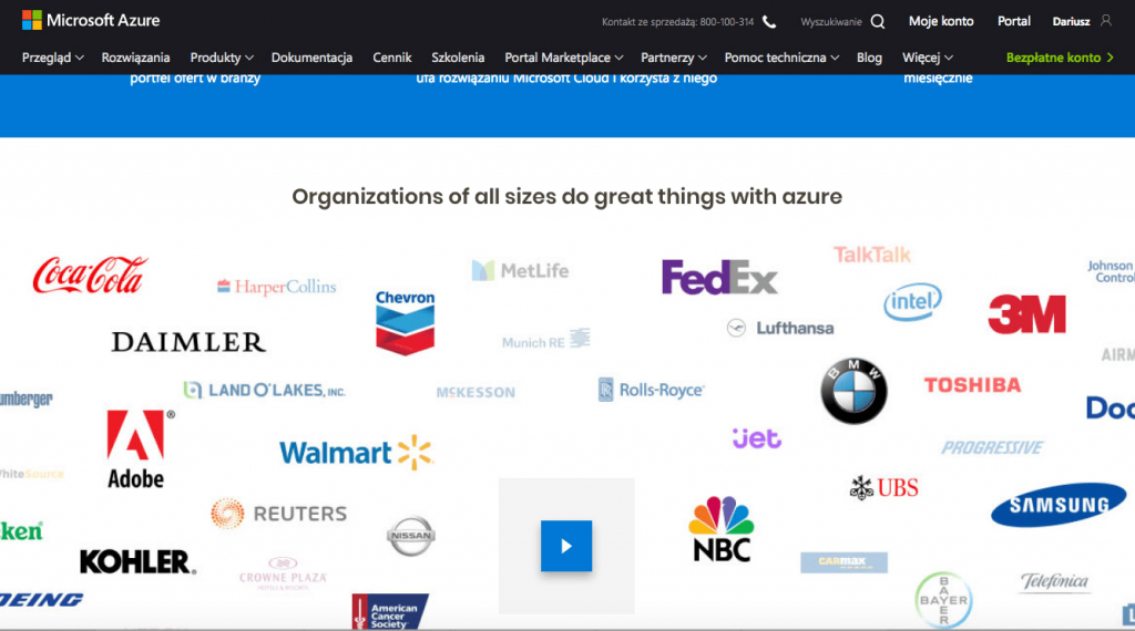 osoft uses well-known brand logos for its cloud computing product Azure. It uses primarily a positive image of its customers, which makes it easier for the customer to decide to use cloud. Large organizations are proof that Microsoft's product is trustworthy.